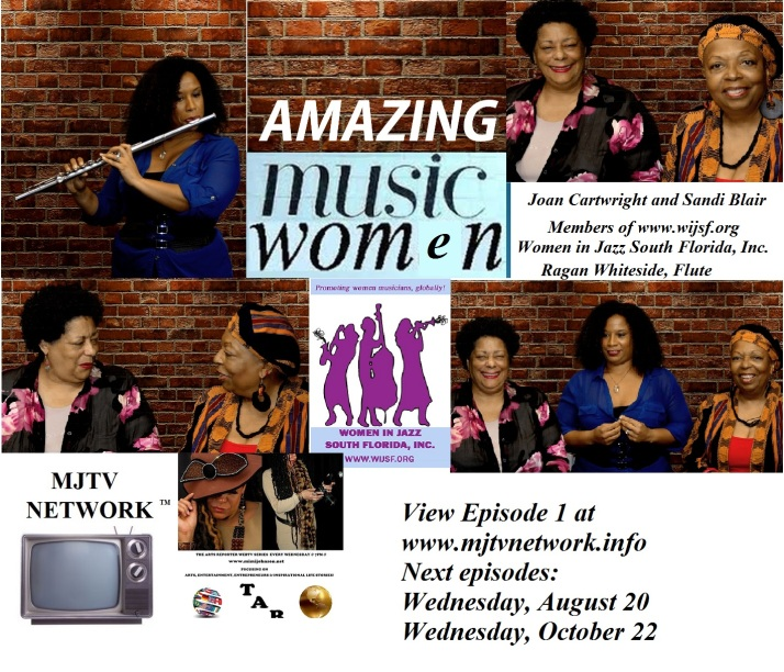 Amazing Musicwomen on The Arts Reporter (TAR TV) on MJTV Network. Produced by Mimi Johnson with co-hosts Joan Cartwright and Sandi Blair, featuring Ragan Whiteside on flute