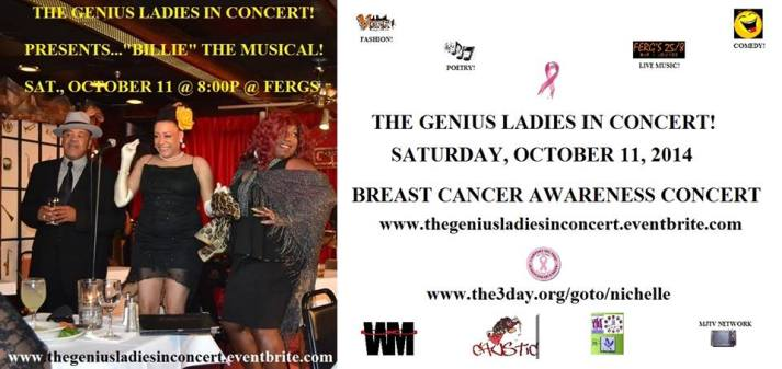 We are offering vending and playbill ad space for our concert Saturday, October 11 @ Ferg's Lounge in East Point, GA. www.thegeniusladiesinconcert.eventbrite.com